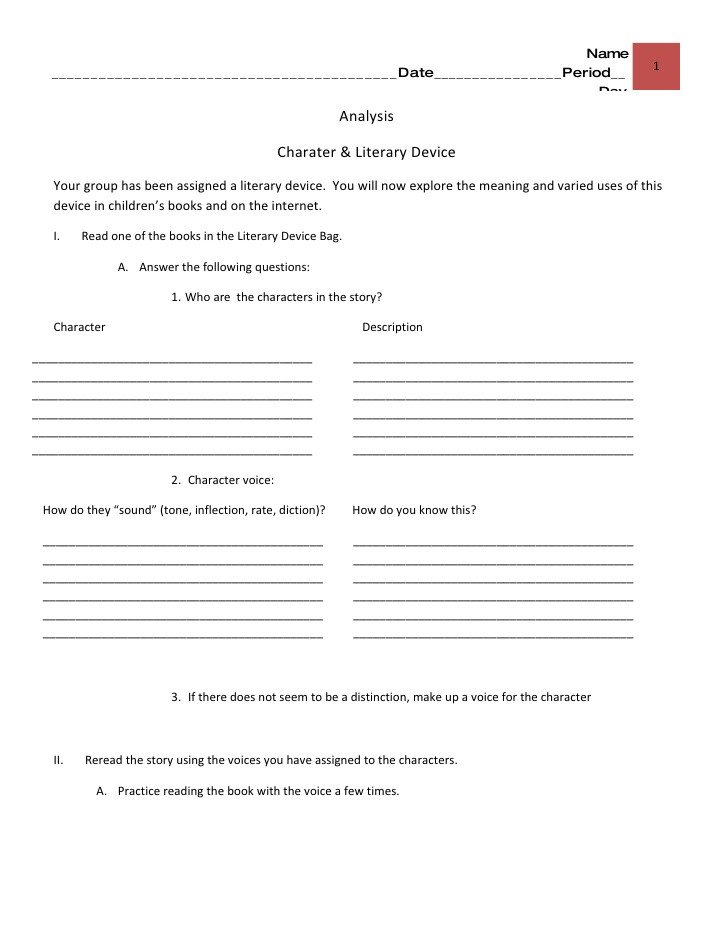 Literary Devices Worksheet High School Literary Devices Bags Analysis Worksheet