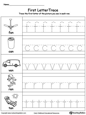 Lowercase Letter Tracing AN Words Worksheet