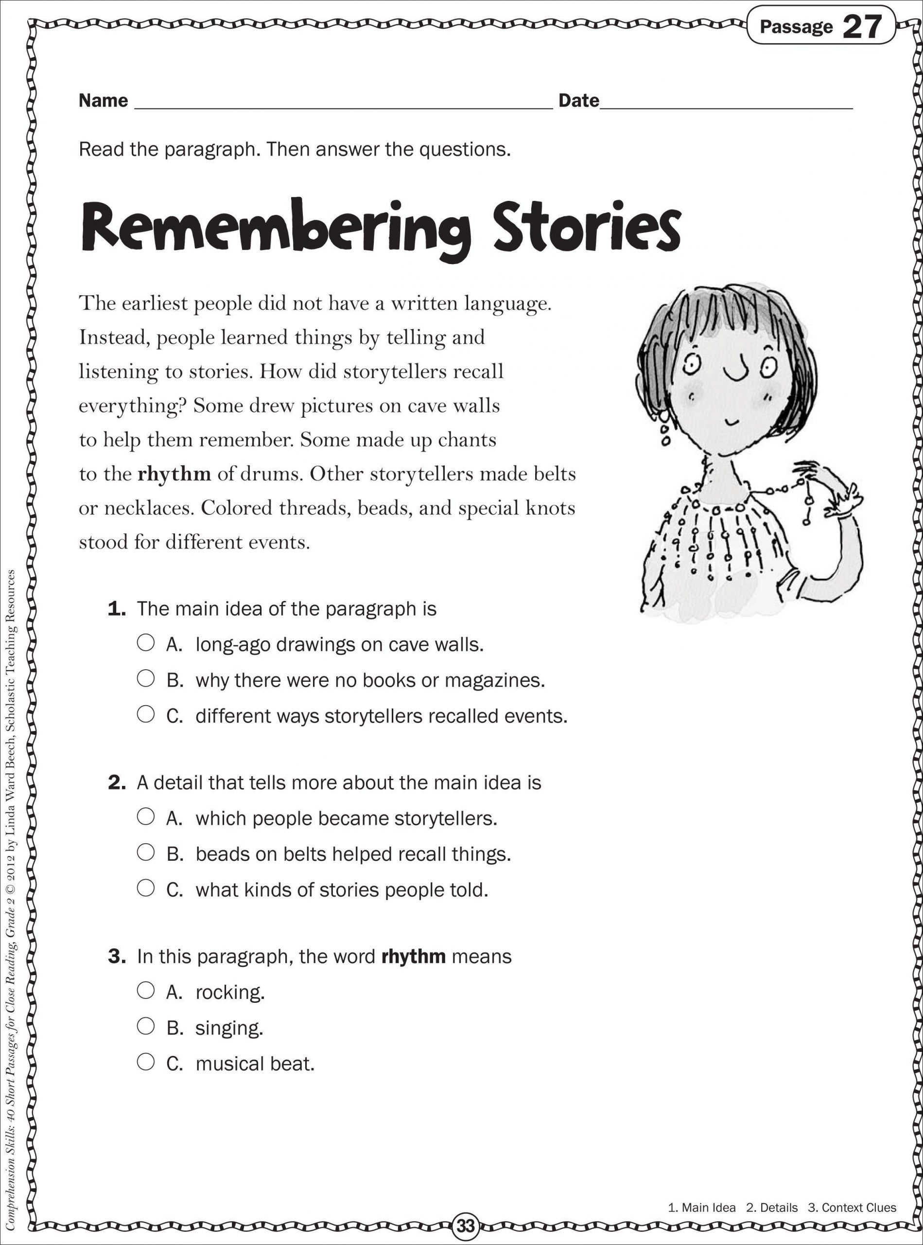 Main Idea Worksheet First Grade Main Idea First Grade Worksheets In 2020