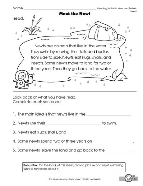 Main Idea Worksheets Grade 4 Reading Worksheet Main Idea and Details the Mailbox