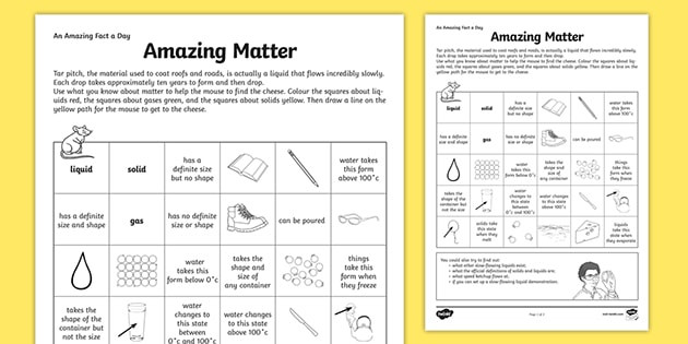 Matter Worksheet 5th Grade Amazing Fact A Day Worksheet States Of Matter Science