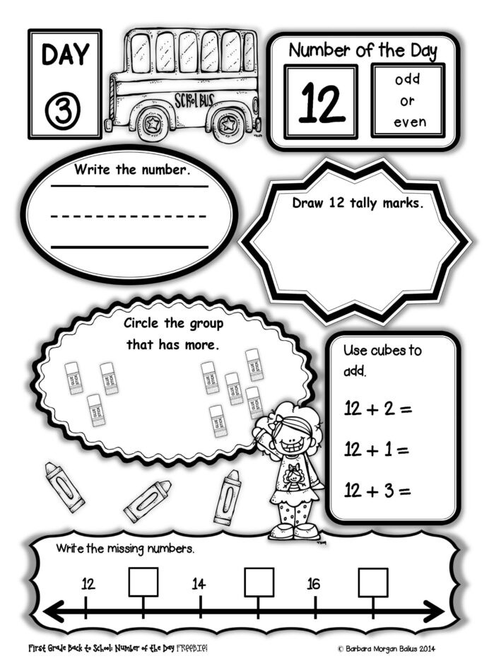 Measurement Worksheets 1st Grade Number the Back to School First Grade Math Freebie 1st