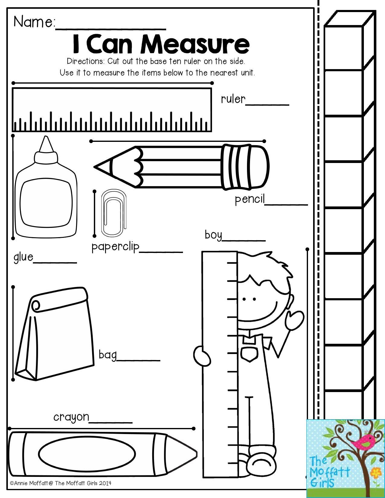 Measurement Worksheets for First Grade I Can Measure Have Students Use the Measuring Stick to See