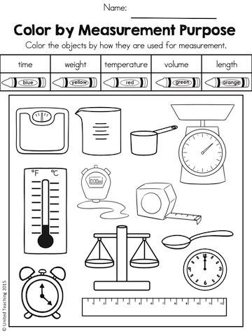 Measurement Worksheets for First Graders How is the Object Used In Measurement Color by