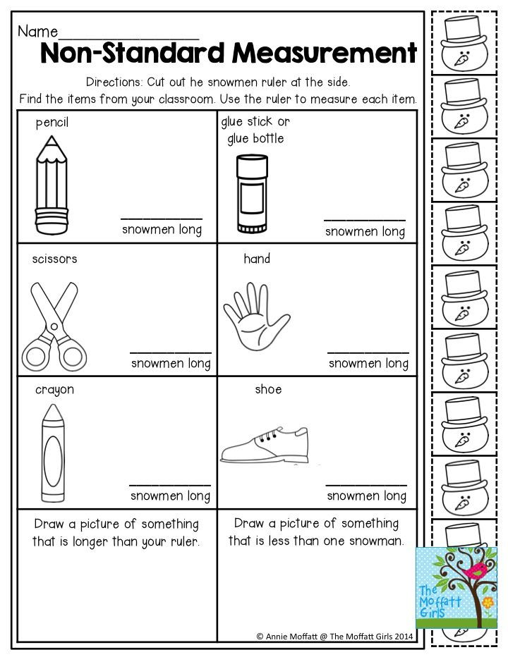 Measurement Worksheets for First Graders Non Standard Measurement Measuring Items with Snowmen tons