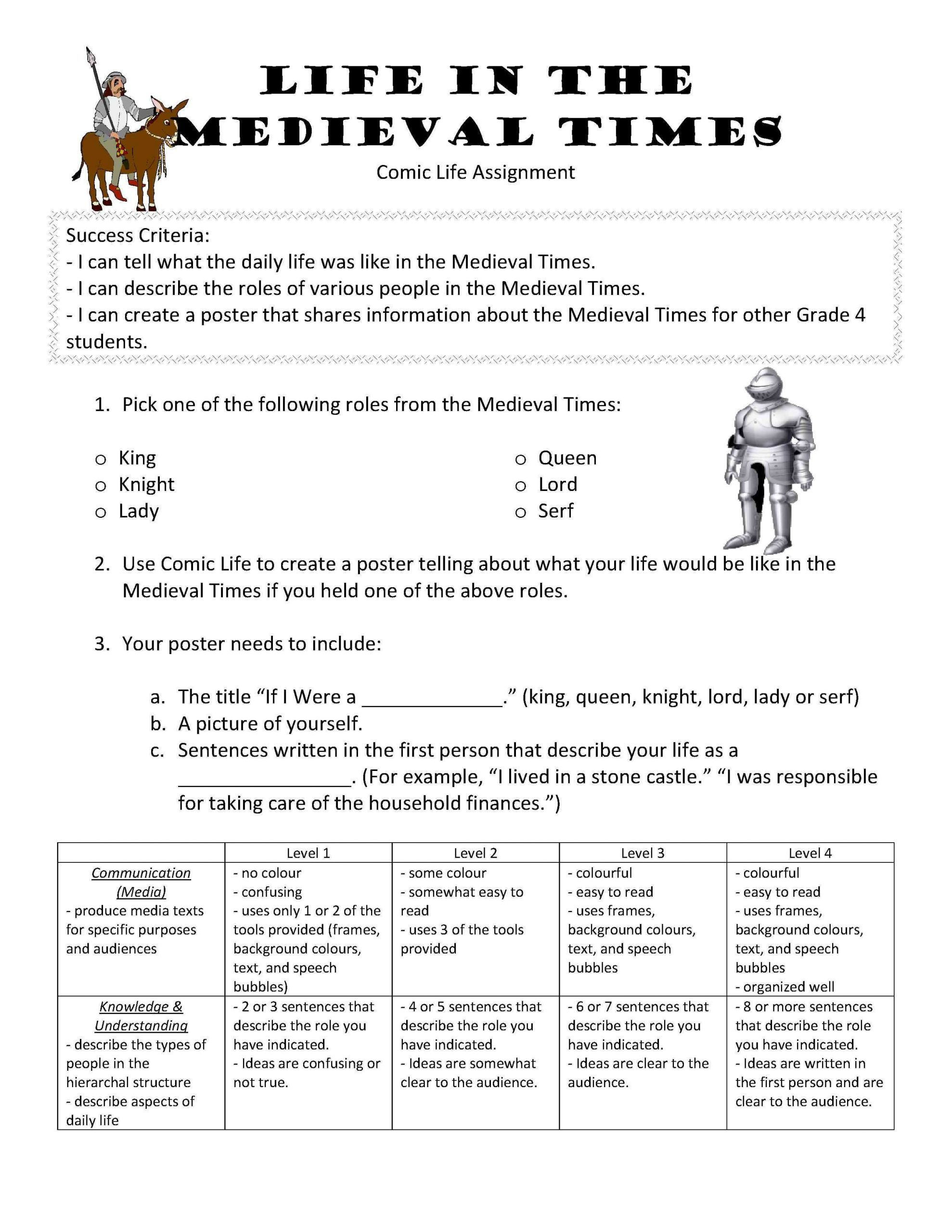 Middle Ages Worksheets 6th Grade 5 Me Val Times Worksheets Printable In 2020