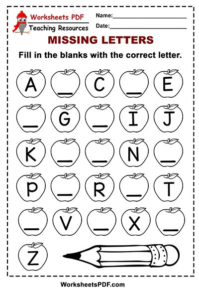 Missing Letters Alphabet Worksheet Free Printable Apple Alphabet – Missing Letters Worksheets Pdf