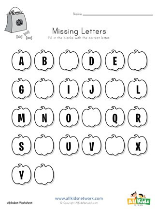 Missing Letters Alphabet Worksheet Halloween Missing Letters Worksheet