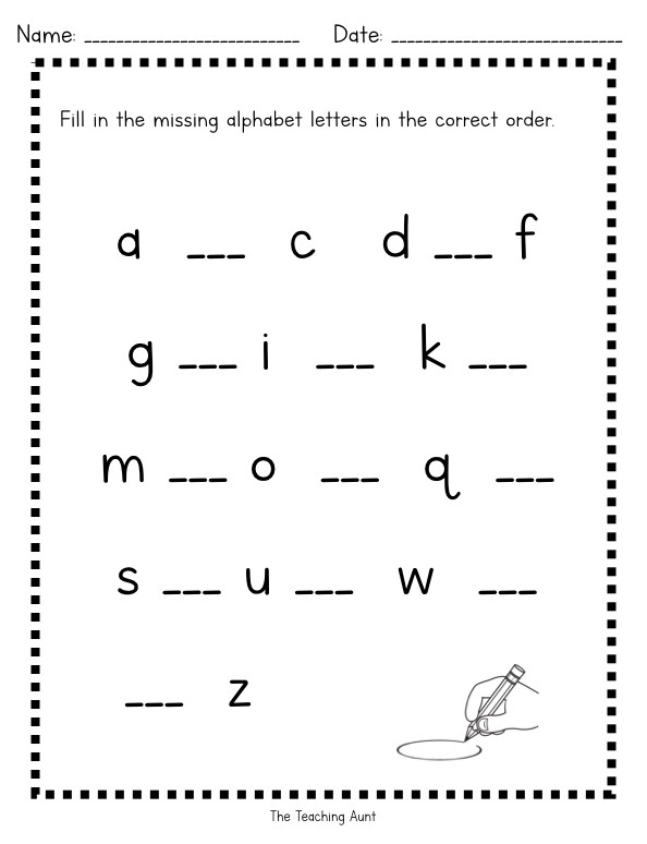 Missing Letters Alphabet Worksheet Missing Lowercase Letters Worksheets the Teaching Aunt