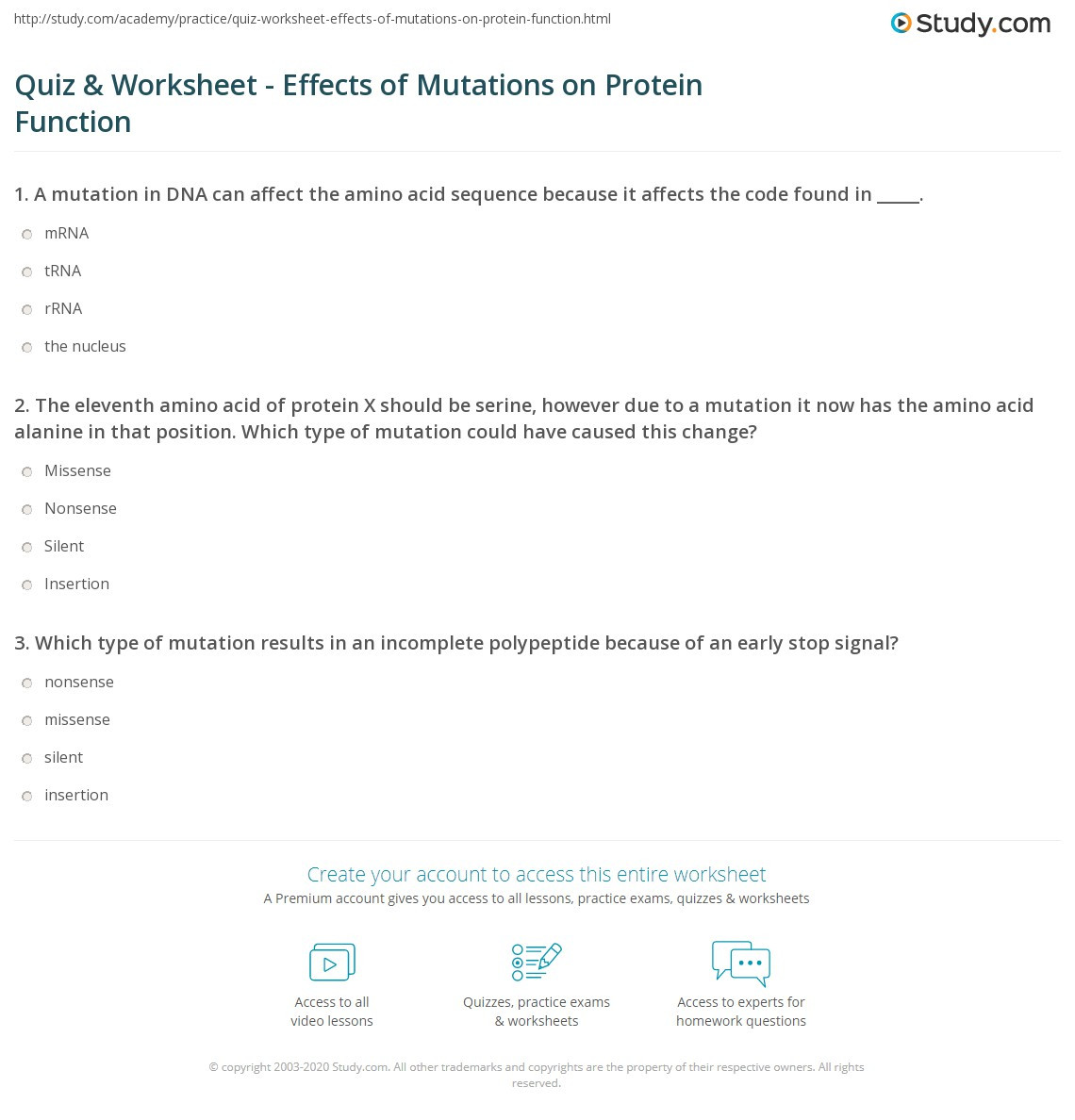 Mutations Worksheet High School Quiz & Worksheet Effects Of Mutations On Protein Function