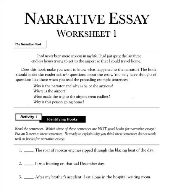Narrative Writing Worksheets Pdf Narrative Essay Outline Worksheet In Pdf