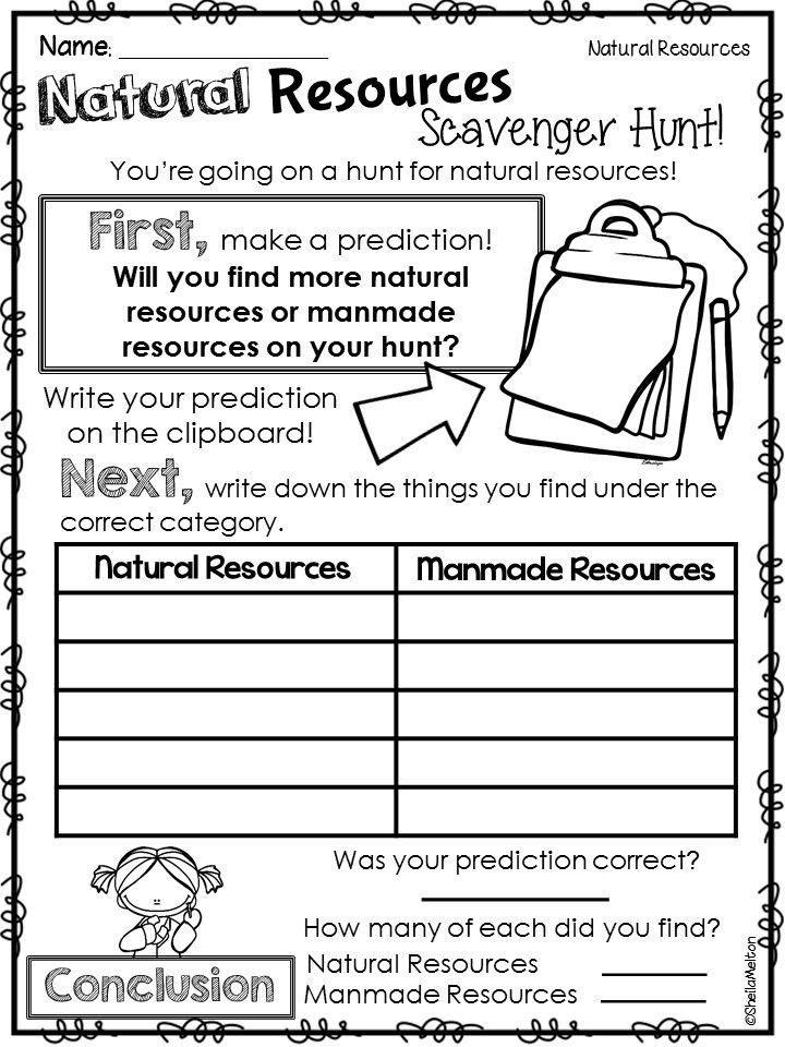 Natural Resources Worksheets 1st Grade Natural Resources Scavenger Hunt Students Look for Natural