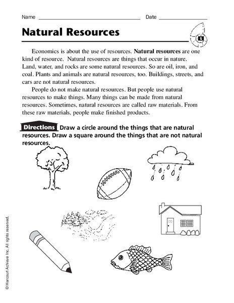 Natural Resources Worksheets 1st Grade Natural Resources Worksheets 3rd Grade Natural Resources