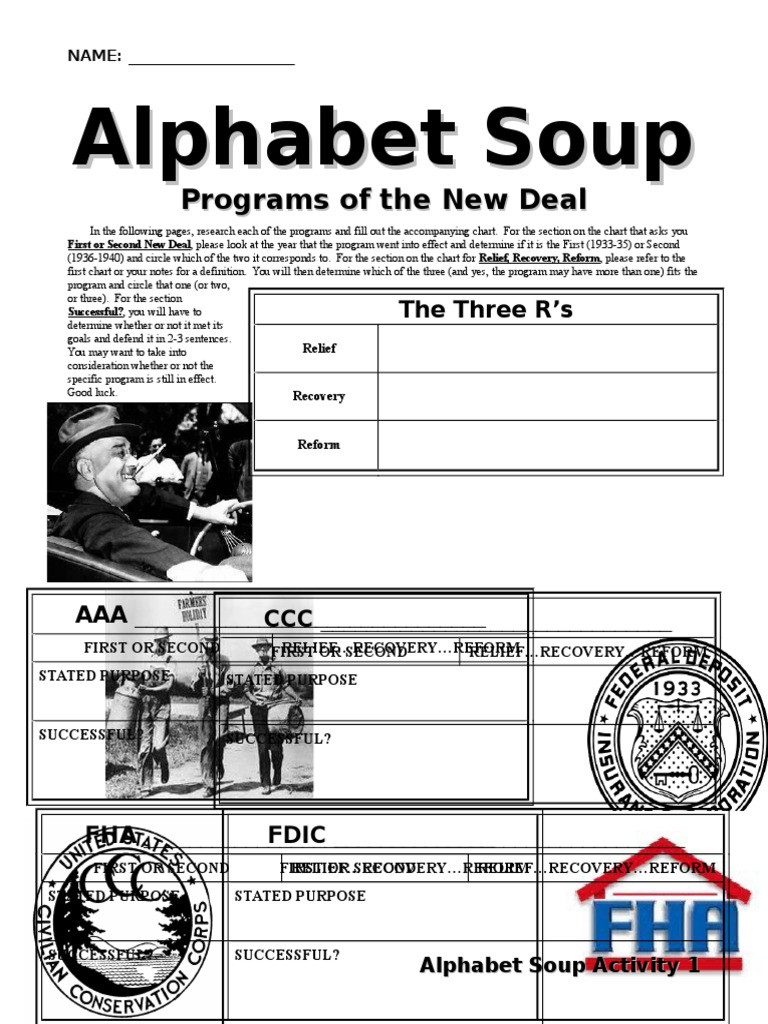 New Deal Alphabet soup Worksheet New Deal Alphabet soup Worksheet New Deal