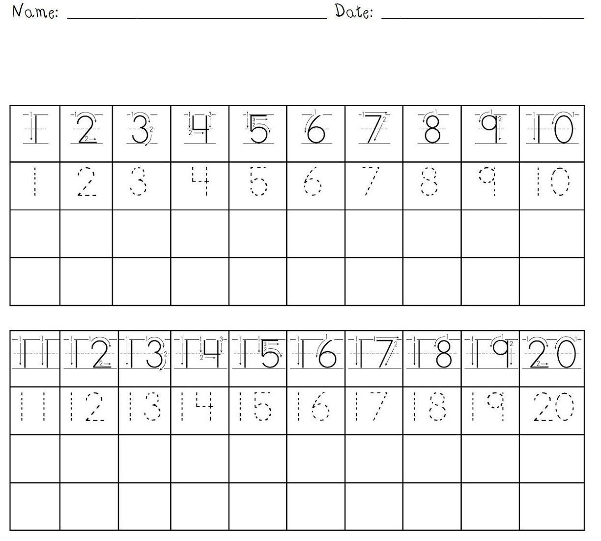Number Writing Worksheets 1 20 Letter M Tracing Worksheet Page 4 Writing Numbers Worksheets