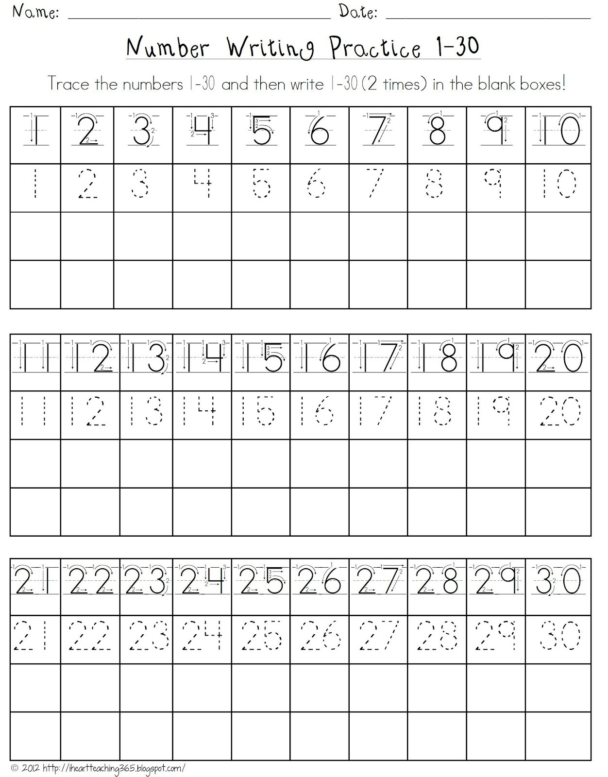 Number Writing Worksheets 1 20 Number Writing assessment 1 20