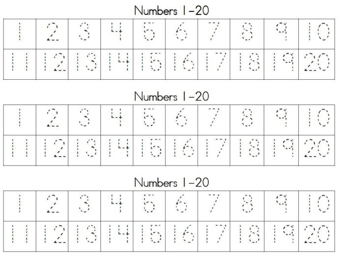 Number Writing Worksheets 1 20 Printables Traceable Numbers Worksheets Trace Writing Free