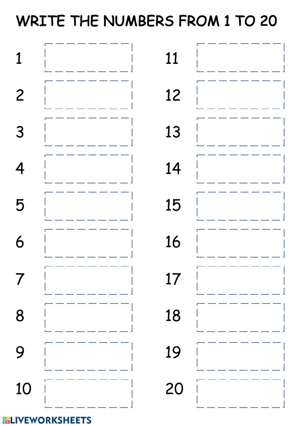 Number Writing Worksheets 1 20 Writing Numbers 1 20 Worksheet