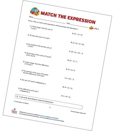 Numerical Expressions 5th Grade Worksheet Match the Expression Free Printable