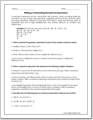 Numerical Expressions 5th Grade Worksheet Writing & Interpreting Numerical Expressions Worksheet