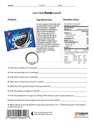 Nutrition Label Worksheet High School Free Nutrition Label Worksheets