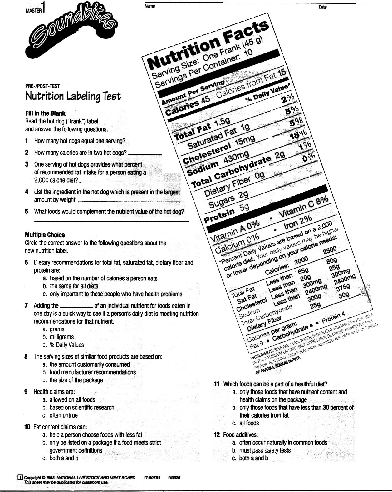 Nutrition Label Worksheet High School Nutrition Facts Label Worksheet