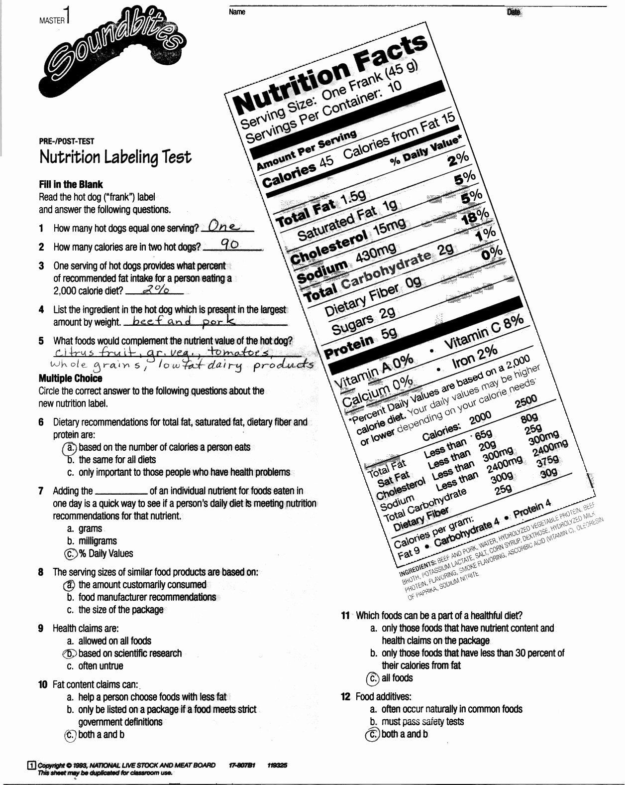 Nutrition Label Worksheet High School Nutrition Label Worksheet Answer Key Best Reading