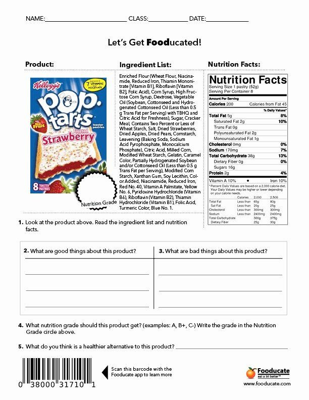 Nutrition Label Worksheet High School Nutrition Label Worksheet Answers Awesome Reading Nutrition