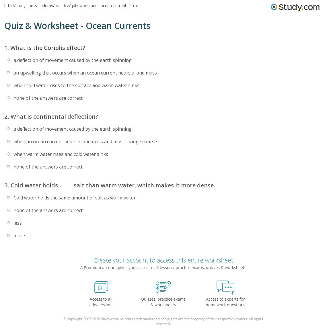 Ocean Currents Worksheet High School Quiz & Worksheet Ocean Currents