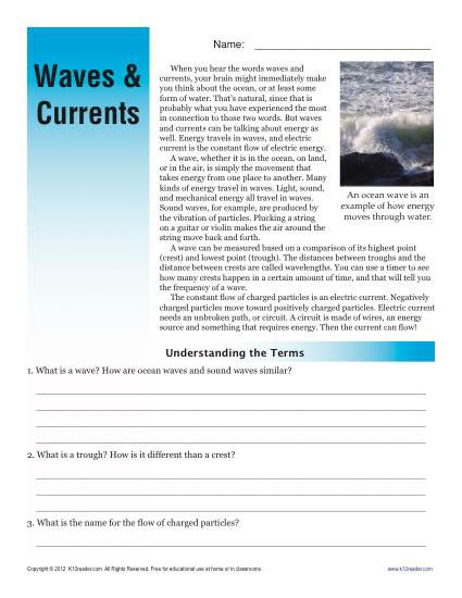 Ocean Currents Worksheet High School Sixth Grade Reading Prehension Worksheet