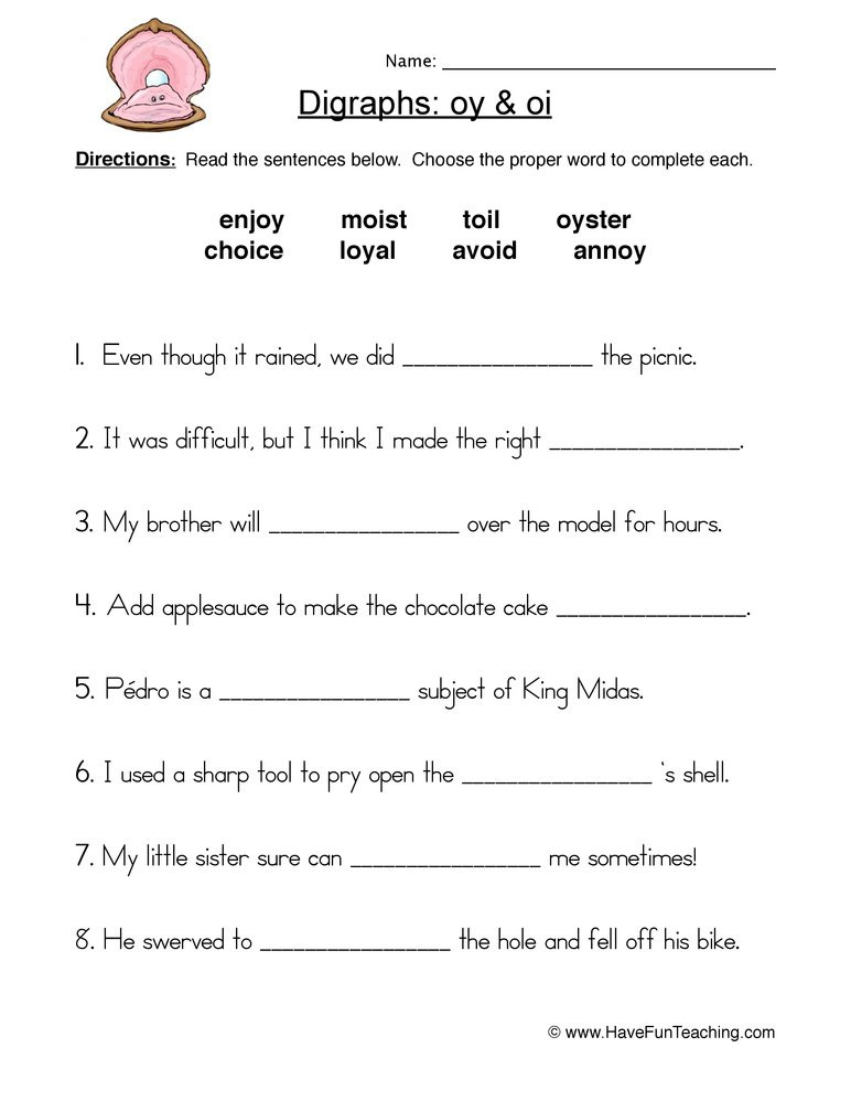 Oi Oy Worksheets 2nd Grade Oi Oy Digraphs Worksheet
