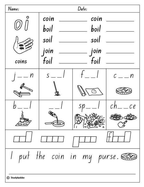 """Oi Oy Worksheets 2nd Grade Vowel Digraph """"oi"""" English Skills Online Interactive"""