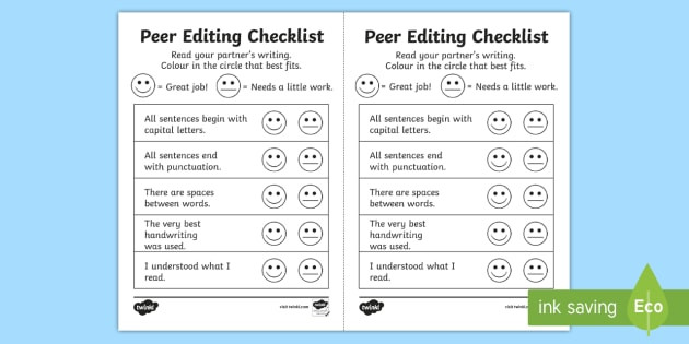 Peer Editing Worksheet High School Peer Editing Checklist Teacher Made