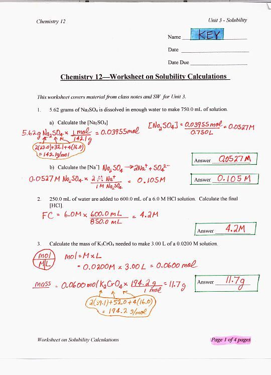 Ph Worksheet High School Chemistry 12