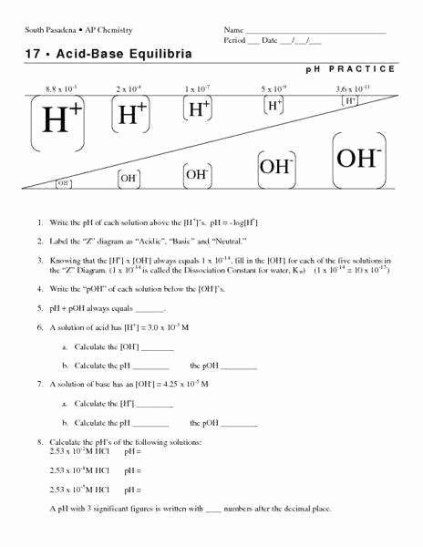 Ph Worksheet High School Ph and Poh Worksheet Answers Unique Ph and Poh Calculations