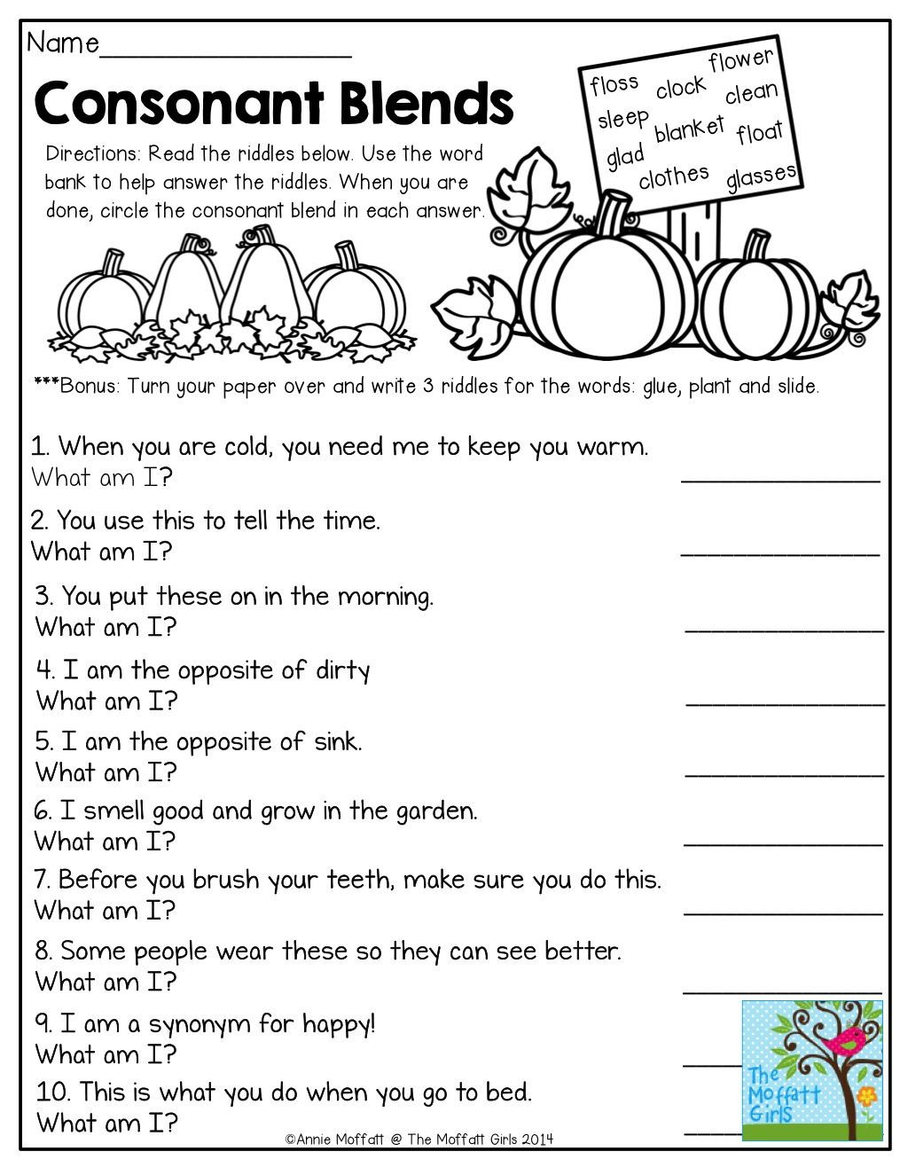 Phonic Worksheets 3rd Grade Consonant Blends Mystery Words Read the Clues and Write the