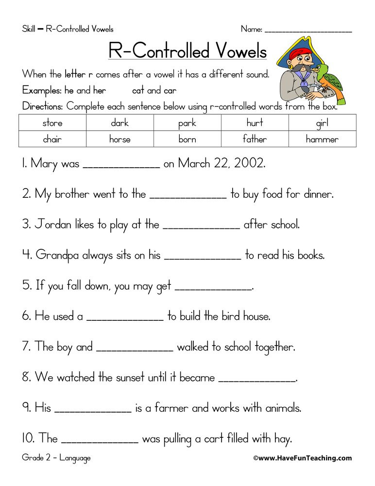 Phonic Worksheets for 3rd Grade R Controlled Vowels Fill In the Blanks Worksheet