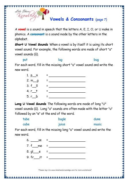 Phonic Worksheets for 3rd Grade Vowels and Consonants Worksheet In 2020