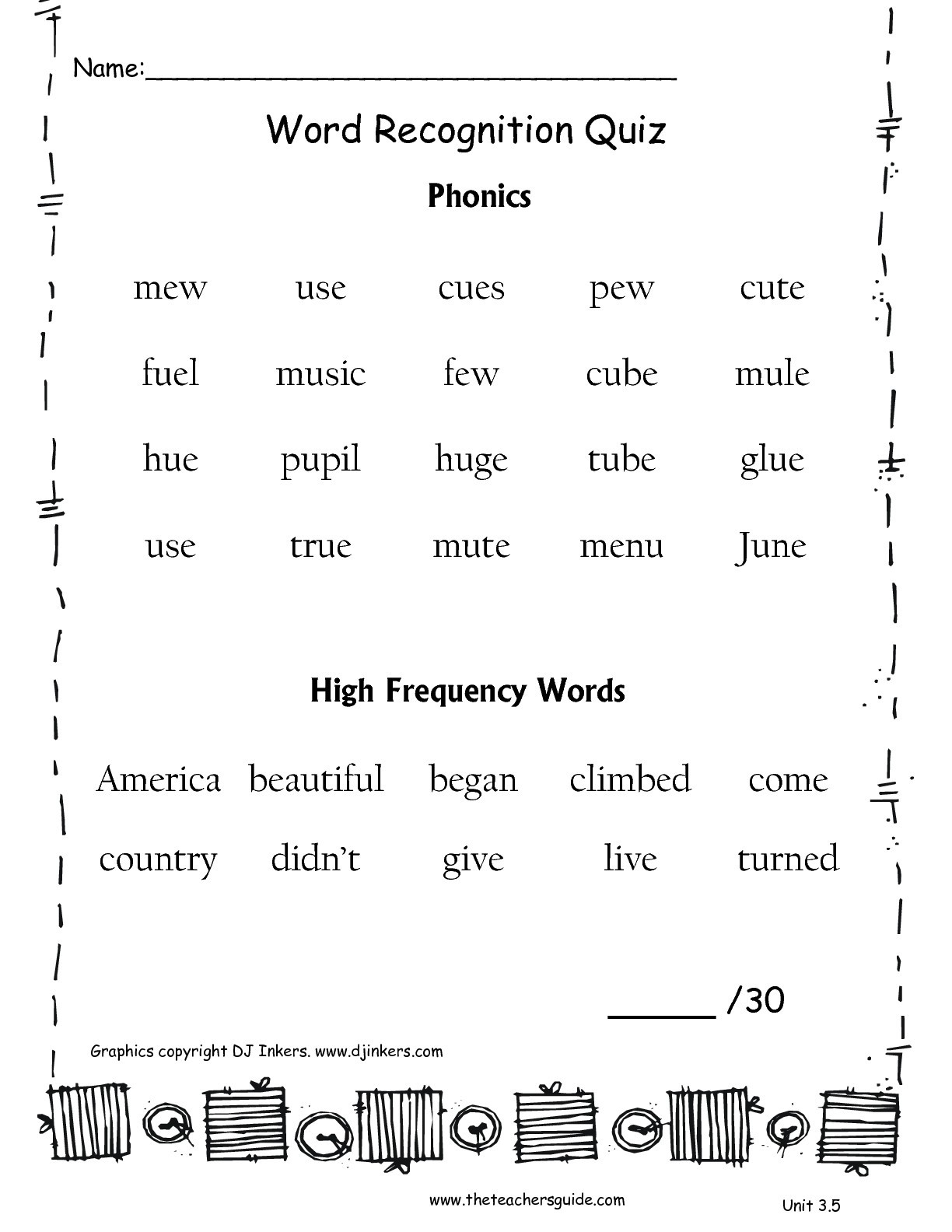 Phonics Worksheets for 3rd Graders Unitthreeweekfivewordquizttg 2nd Grade Phonics Worksheets