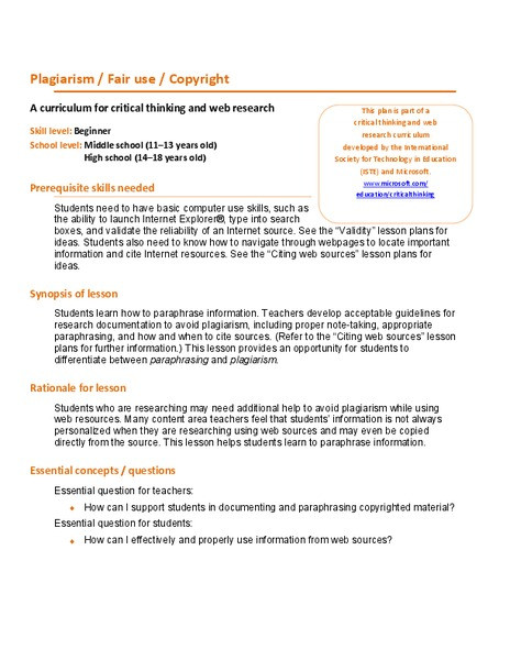 Plagiarism Worksheet High School Plagiarism Fair Use Copyright Lesson Plan for 7th 12th