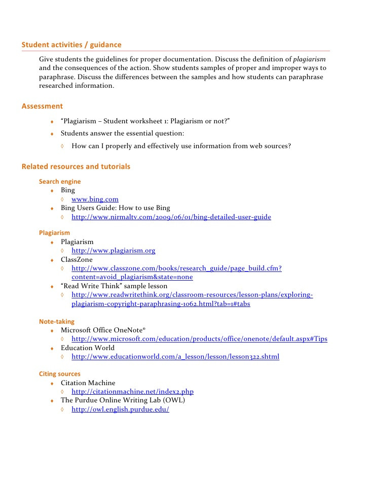 Plagiarism Worksheet High School Plagiarism Lesson Plan Beginner