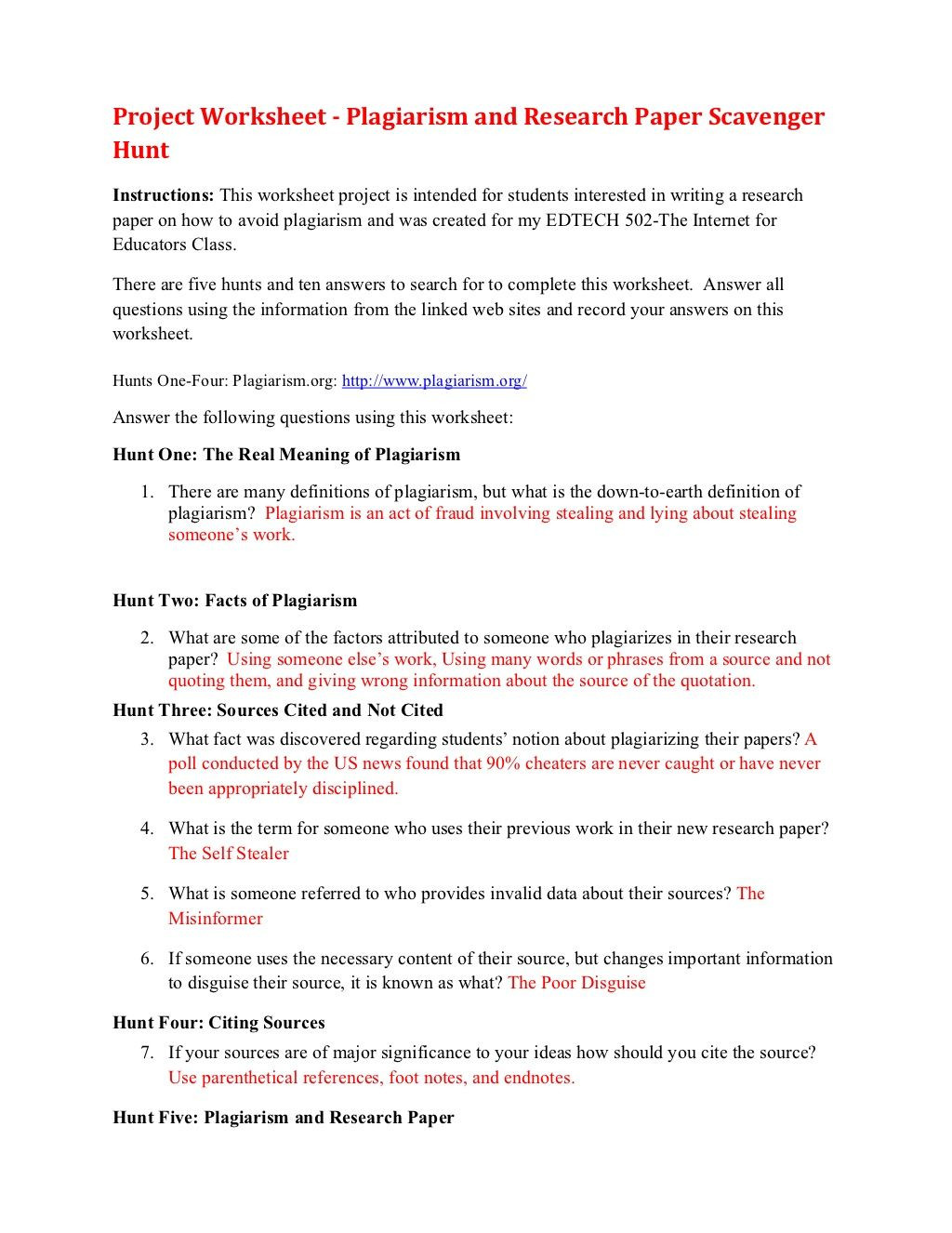 Plagiarism Worksheet High School Plagiarism Scavenger Hunt by Degesc Via Slideshare