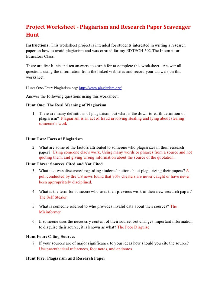 Plagiarism Worksheet High School Plagiarism Scavenger Hunt
