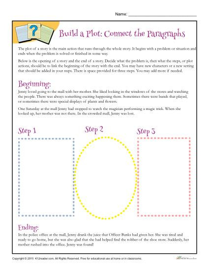 Plot Worksheets 4th Grade Build A Plot Connect the Paragraphs Worksheet