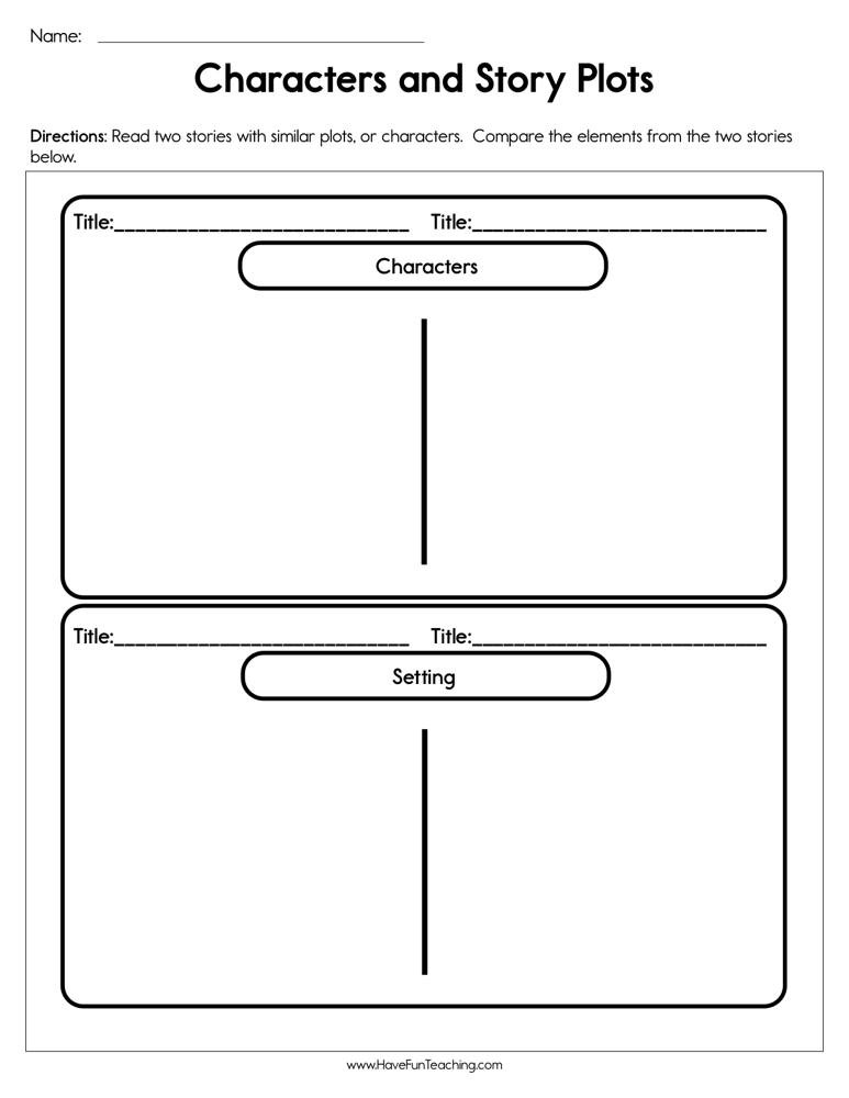Plot Worksheets 4th Grade Characters and Story Plots Worksheet