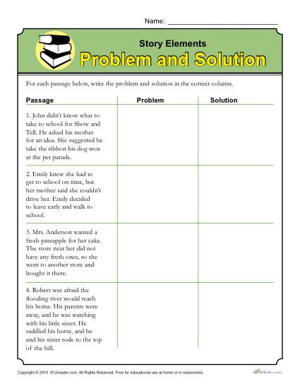 Plot Worksheets 4th Grade Story Elements Worksheet Problem and solution