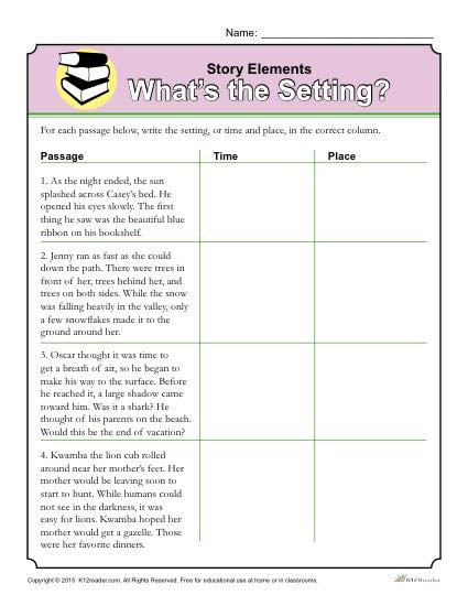 Plot Worksheets 4th Grade Story Elements Worksheet What S the Setting