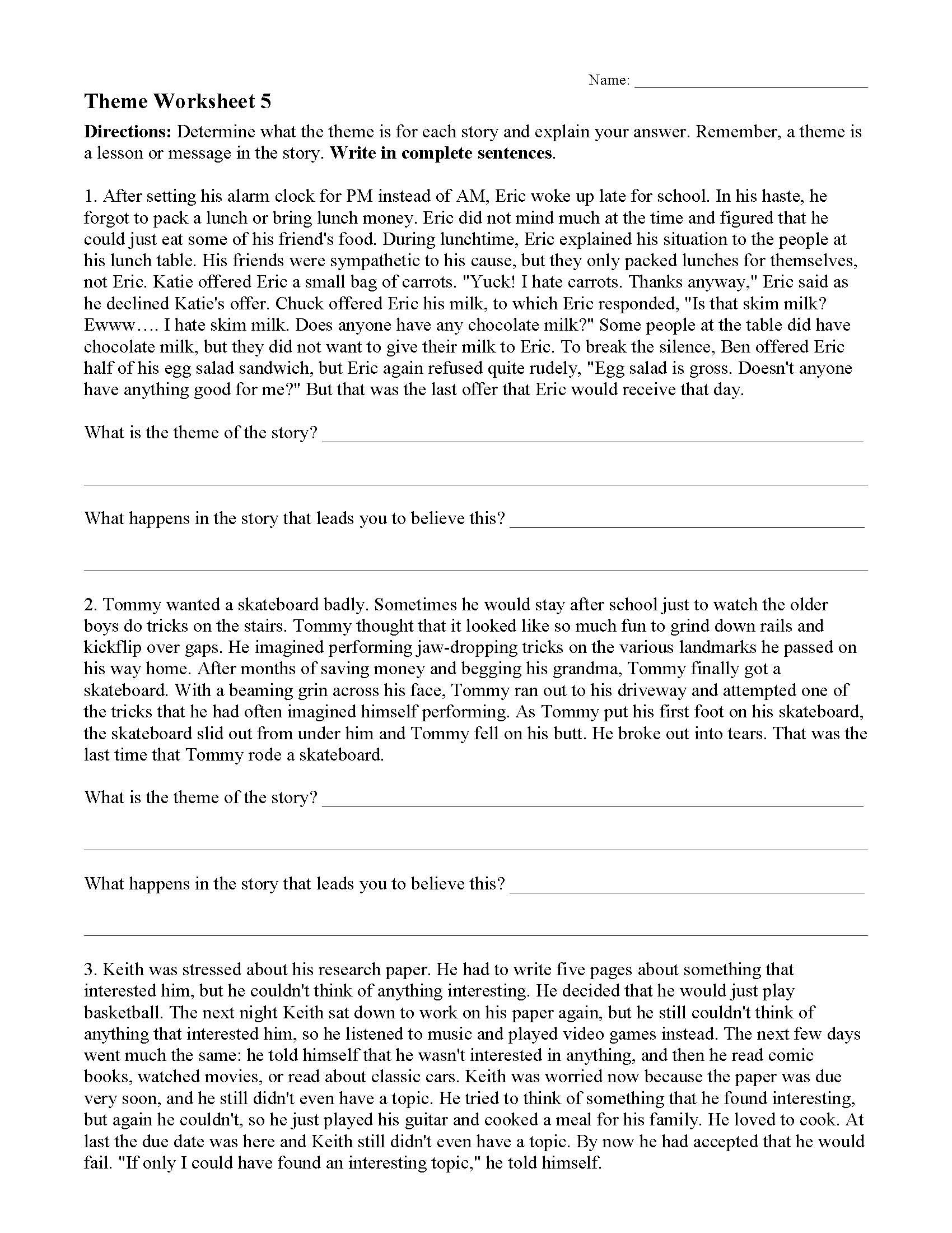 Plot Worksheets 4th Grade theme or Author S Message Worksheets