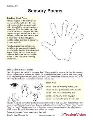 Poems Worksheets 5th Grade Sensory Poems Printable 3rd 5th Grade Teachervision