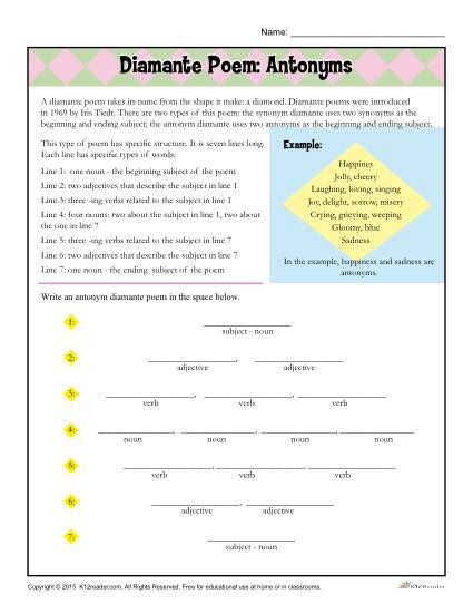 Poetry Worksheets for High School Diamante Poem Antonyms